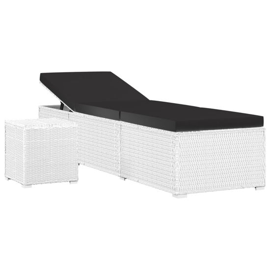 Picture of Outdoor Lounger with Tea Table - White