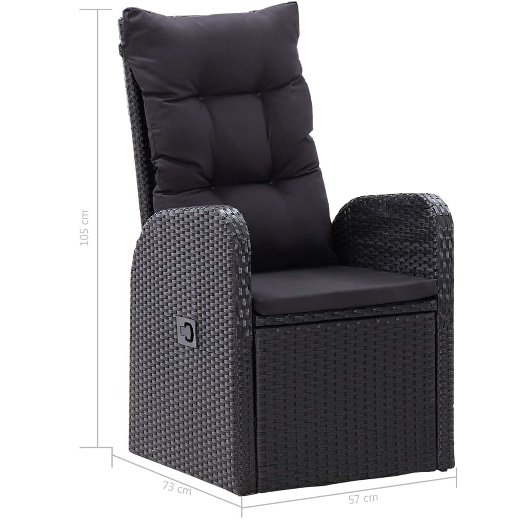 Picture of Outdoor Reclining Chairs - 2 pcs Black