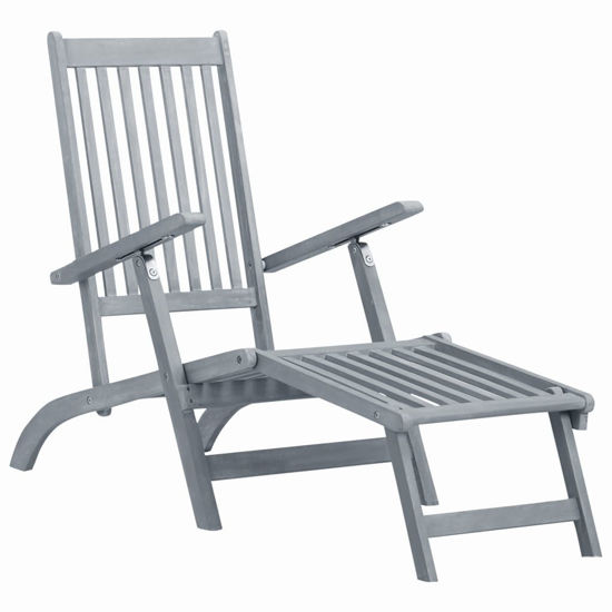 Picture of Outdoor Deck Chair with Footrest - Grey