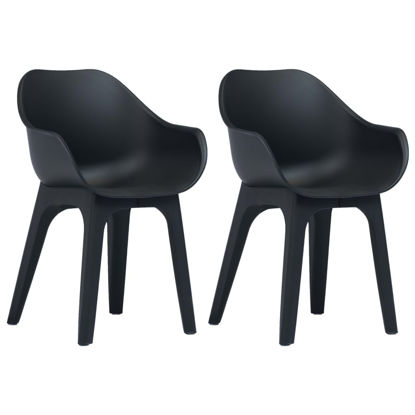 Picture of Outdoor Plastic Chairs with armrests 2 pcs