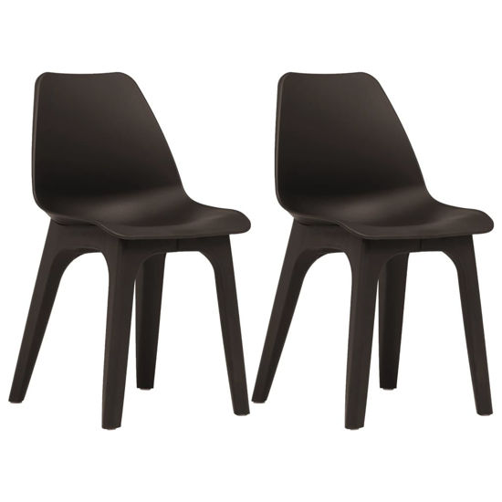 Picture of Outdoor Plastic Chairs - 2 pcs Brown