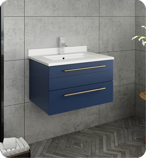 """Picture of Lucera 24"""" Royal Blue Wall Hung Modern Bathroom Cabinet w/ Top & Undermount Sink"""