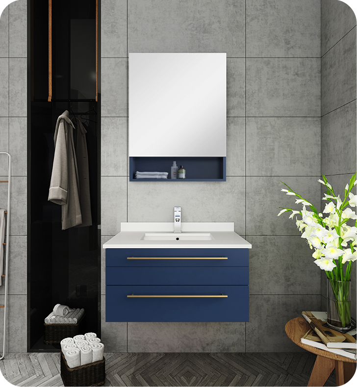 """Picture of Lucera 30"""" Royal Blue Wall Hung Modern Bathroom Cabinet w/ Top & Undermount Sink"""