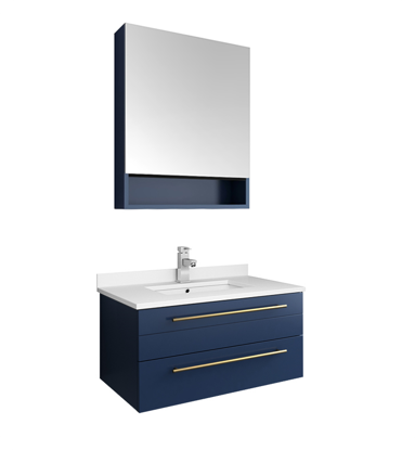"Picture of Lucera 30"" Royal Blue Wall Hung Undermount Sink Modern Bathroom Vanity w/ Medicine Cabinet"