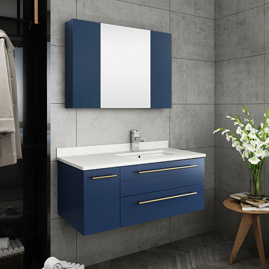 "Picture of Lucera 36"" Royal Blue Wall Hung Undermount Sink Modern Bathroom Vanity w/ Medicine Cabinet - Right Version"