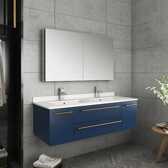 """Picture of Lucera 48"""" Royal Blue Wall Hung Double Undermount Sink Modern Bathroom Vanity w/ Medicine Cabinet"""