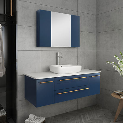 "Picture of Lucera 48"" Royal Blue Wall Hung Vessel Sink Modern Bathroom Vanity w/ Medicine Cabinet"