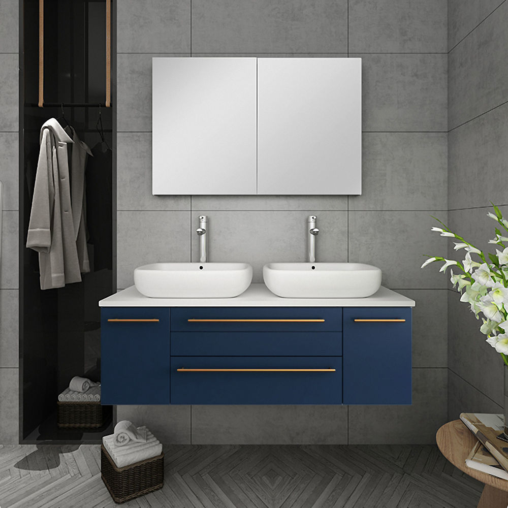 """Picture of Lucera 48"""" Royal Blue Wall Hung Double Vessel Sink Modern Bathroom Vanity w/ Medicine Cabinet"""