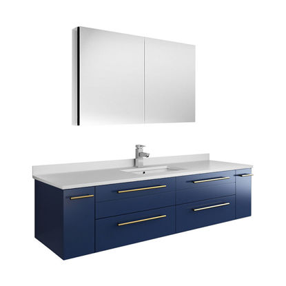 "Picture of Lucera 60"" Royal Blue Wall Hung Single Undermount Sink Modern Bathroom Vanity w/ Medicine Cabinet"