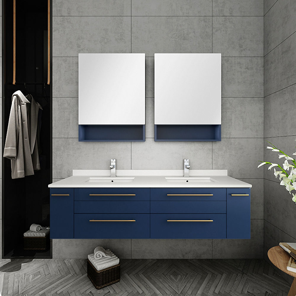 """Picture of Lucera 60"""" Royal Blue Wall Hung Double Undermount Sink Modern Bathroom Vanity w/ Medicine Cabinets"""