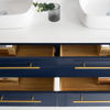 "Picture of Lucera 60"" Royal Blue Wall Hung Modern Bathroom Cabinet w/ Top & Double Vessel Sinks"