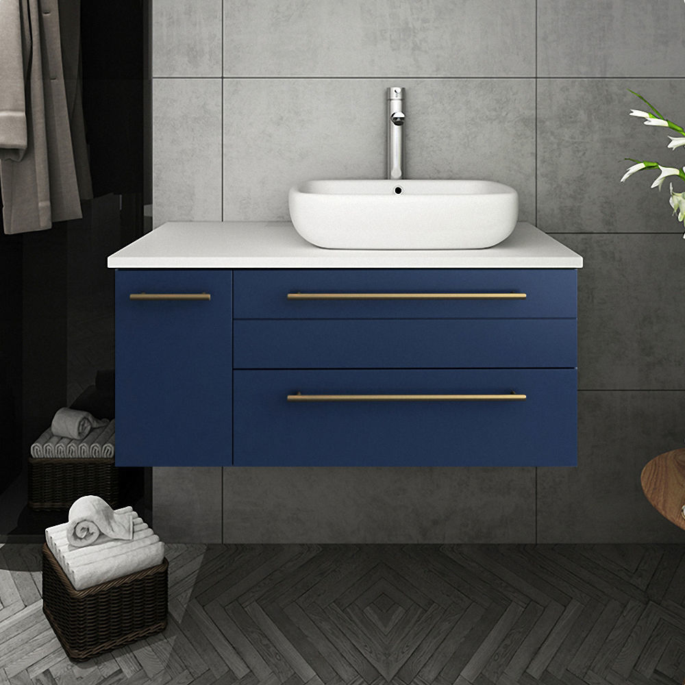 "Picture of Lucera 36"" Royal Blue Wall Hung Vessel Sink Modern Bathroom Cabinet - Right Version"
