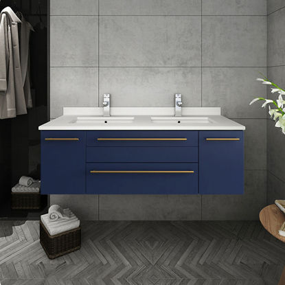 "Picture of Lucera 48"" Royal Blue Wall Hung Modern Bathroom Cabinet w/ Top & Undermount Sink"