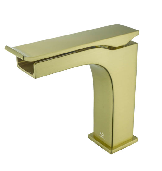 Picture of Single Hole Waterfall Bathroom Faucet - Brushed Brass