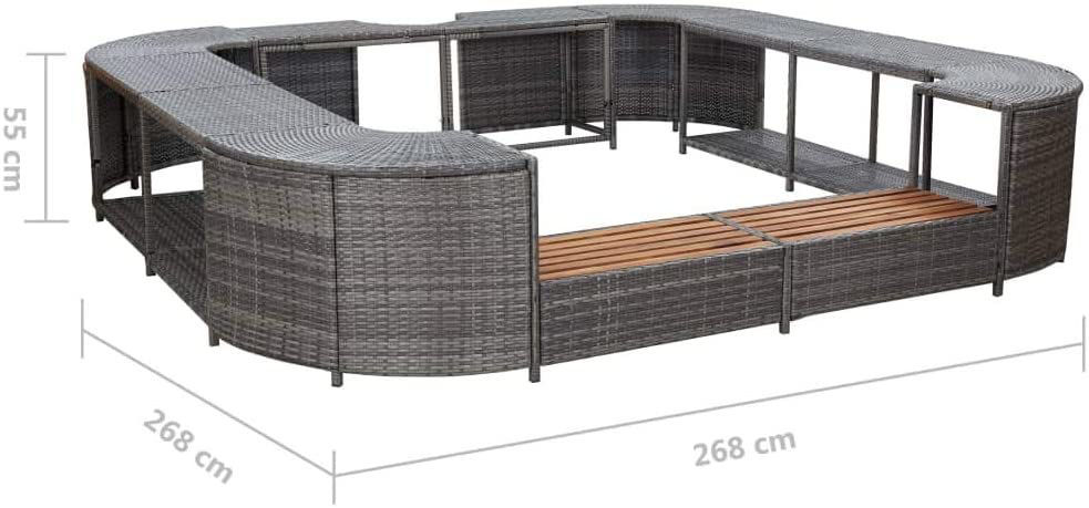Picture of Outdoor Square Hot Tub Surround - Gray