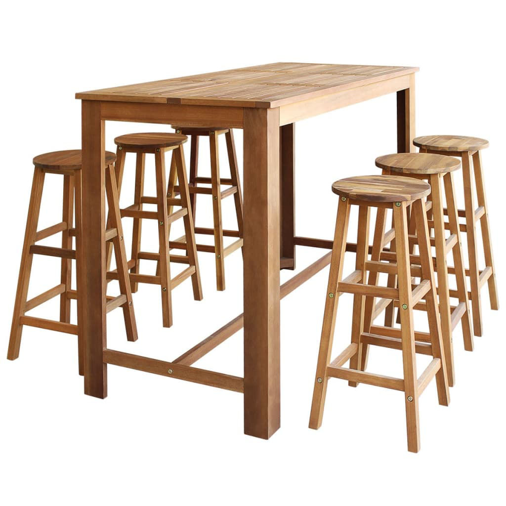 Picture of Wooden Bar Table with Stools - 7pc