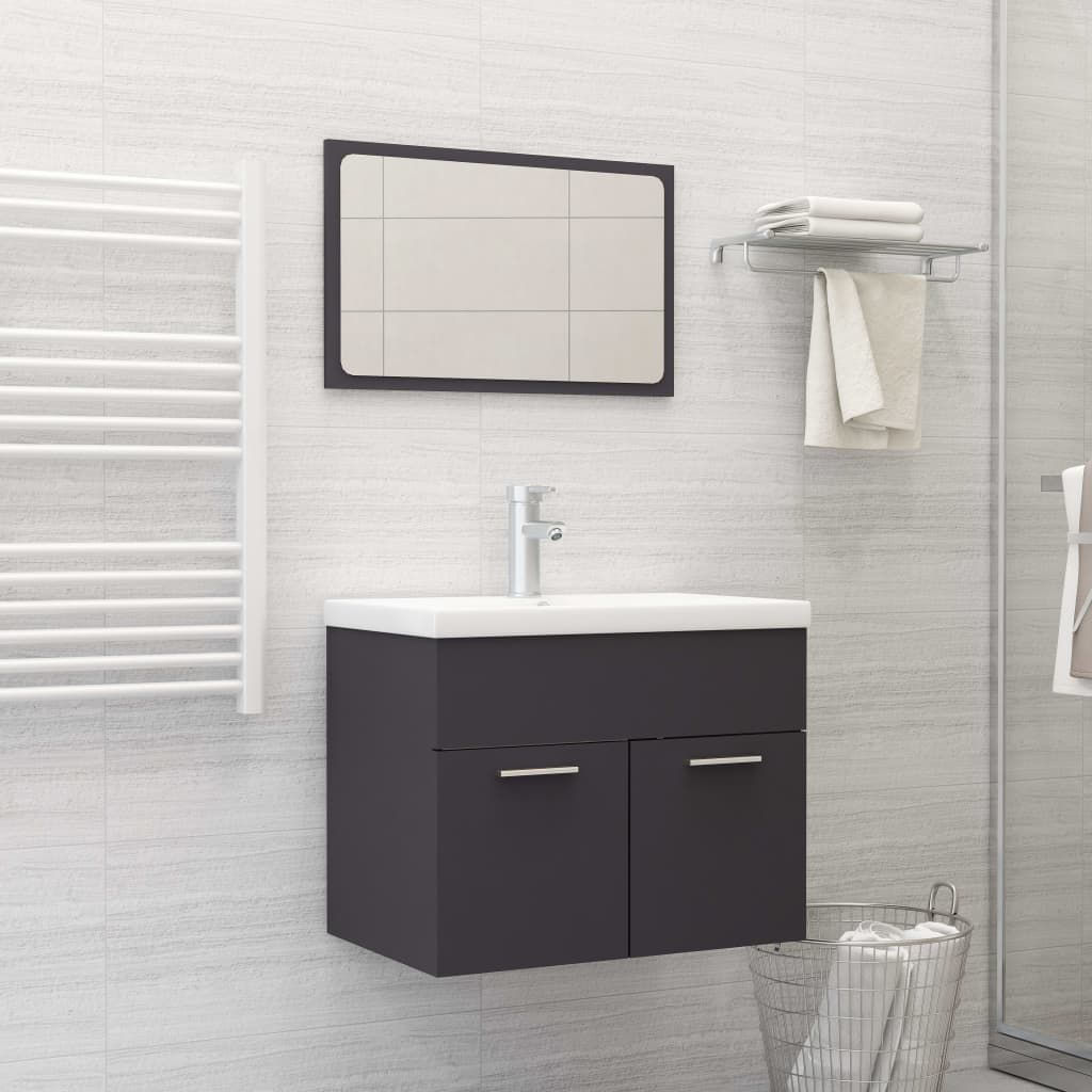"""Picture of 23"""" Bathroom Sink Cabinet with Mirror - Gray"""