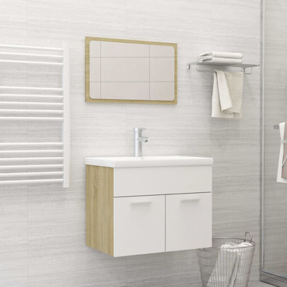 """Picture of 23"""" Bathroom Furniture Set with - White and Sonoma Oak"""