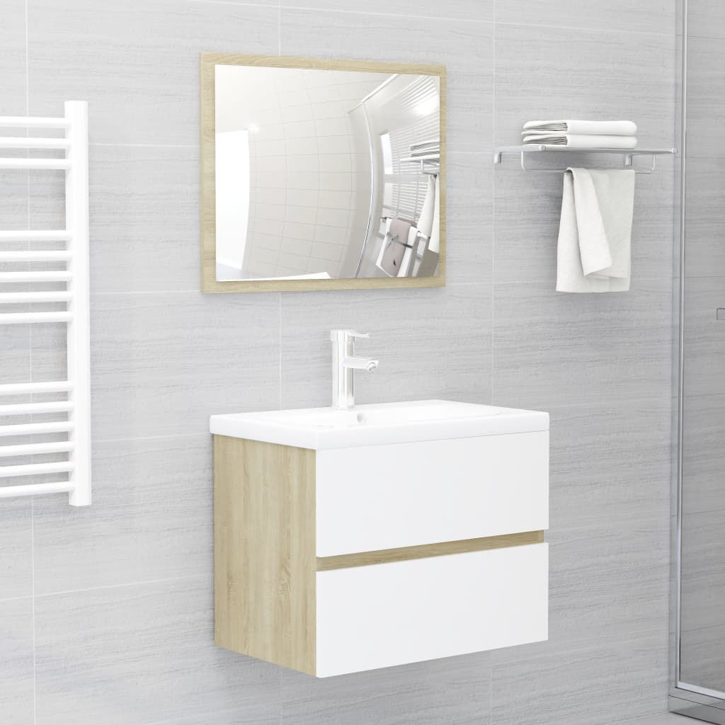"""Picture of 23"""" Bathroom Furniture Set with Mirror - White and Sonoma Oak"""
