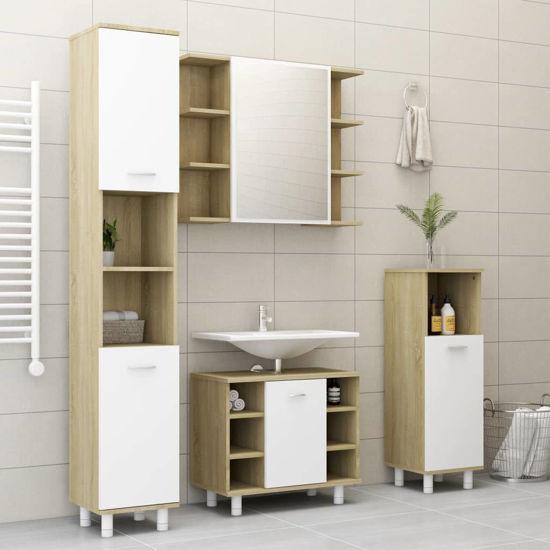 "Picture of 23"" Bathroom Furniture Set - 4 pc White and Sonoma Oak"