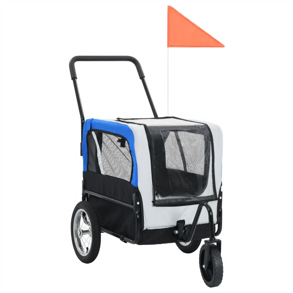 Picture of 2-in-1 Pet Bike Trailer And Jogging Stroller Gray and Blue