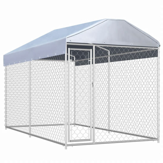 Picture of Outdoor Dog Kennel with Canopy Top - 12.5'