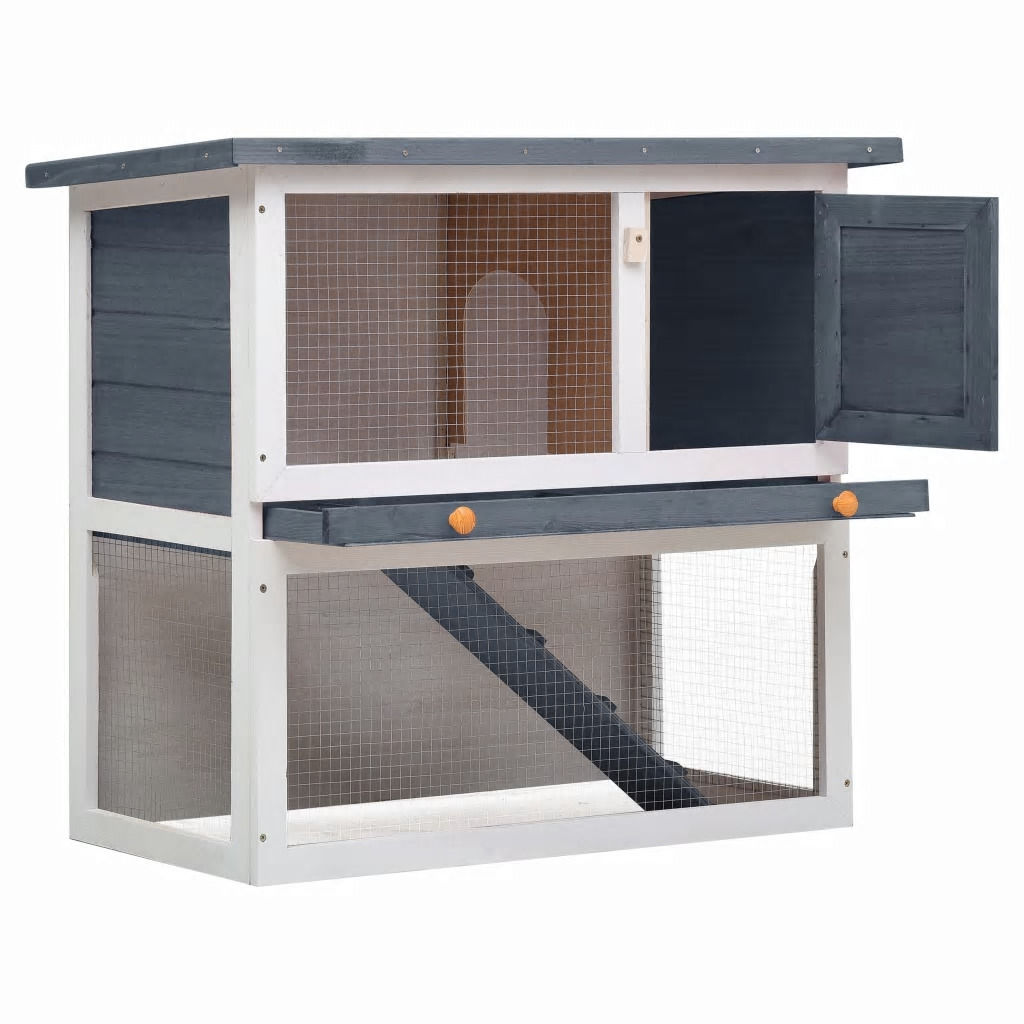 Picture of Outdoor Rabbit Hutch - Gray Wood