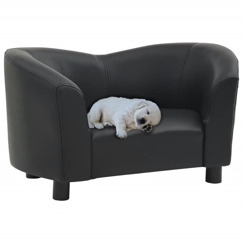 Picture of Dog Faux Leather Sofa - Black