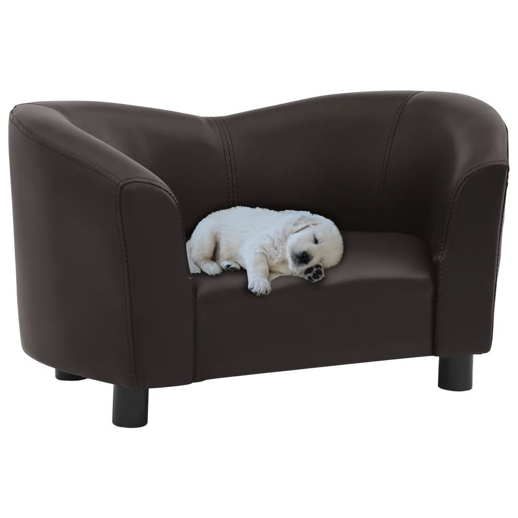 Picture of Dog Faux Leather Sofa - Brown