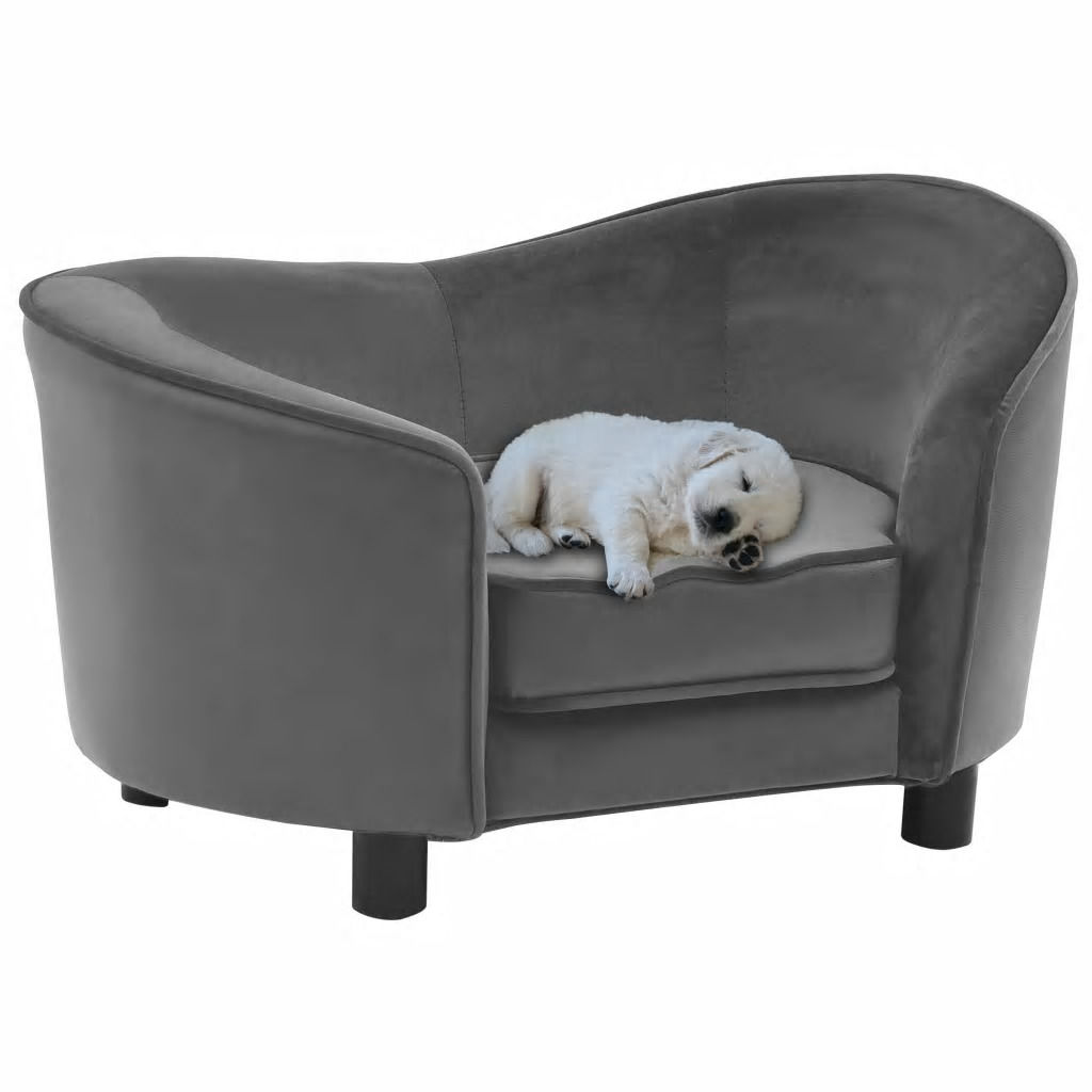 Picture of Dog Plush and Faux Leather Sofa - Gray