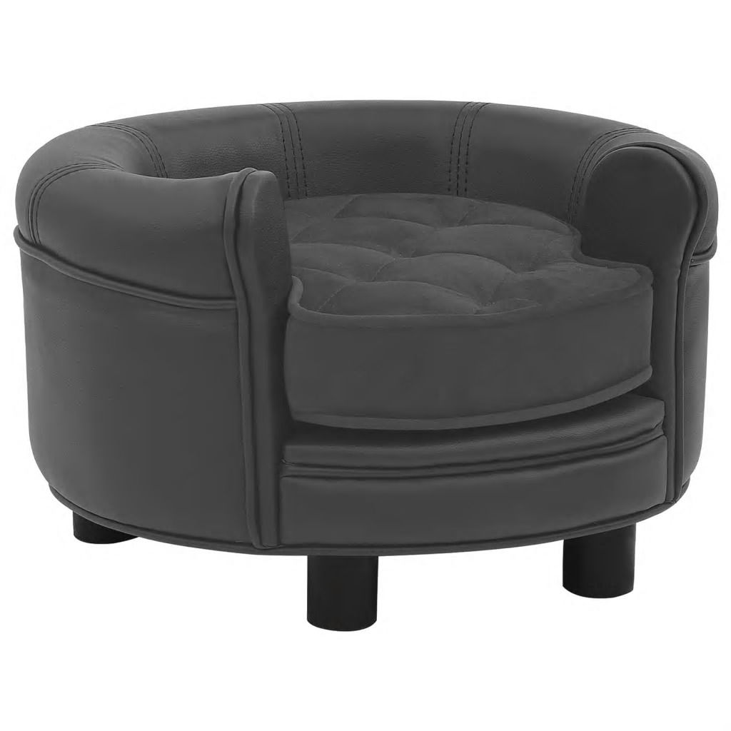 Picture of Dog Plush and Faux Leather Sofa - Dark Gray