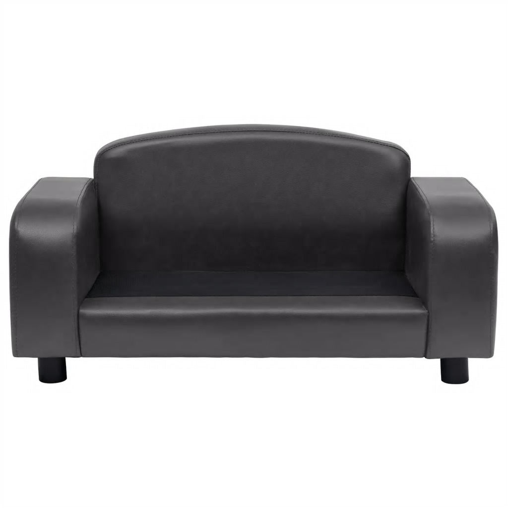 Picture of Dog Faux Leather Sofa - Dark Gray